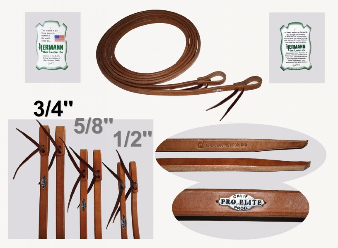 California Pro Elite Series Premium Harness Zügel 19mm Western Zügel Split Reins