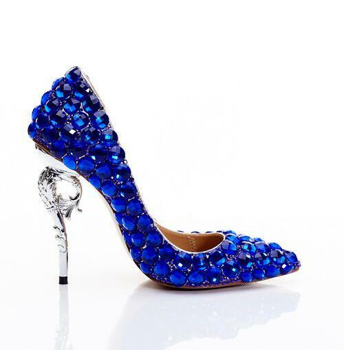 Women Royal bluee Rhinestones Crystal Stilettos High Heel Pumps shoes Pointed Toe