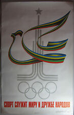 Original USSR 1980 Summer Olympics Poster Soviet Union Peace Dove Russia Moscow