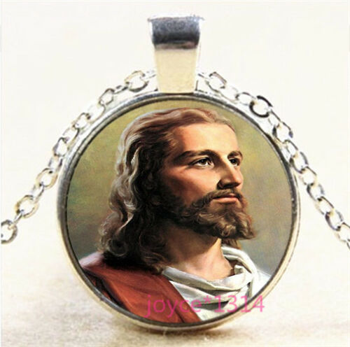 Christ Jesus Cabochon Silver//Bronze//Black//Gold Glass Chain Pendant Necklace#7105