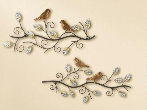GILDE Metall Relief Wandhänger Wanddeko 2 Vögel auf Ast 49 x 24 cm NEU