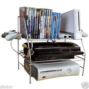 New Video Game System Xbox Ps3 Wii Storage Rack Shelf