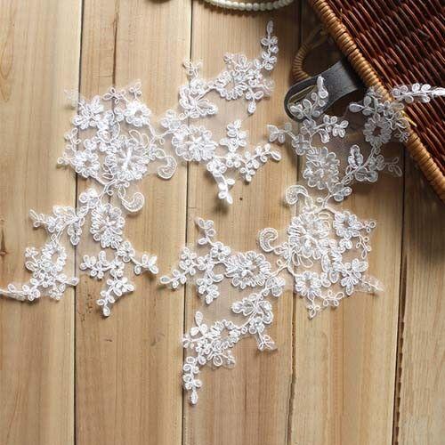 1Pair Floral Embroidery Bridal Veil Lace Applique Patch DIY Wedding Dress Decor