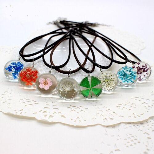 UK BOHO REAL DRIED FLOWER NECKLACE Pendant Jewellery Gift Idea Hippie Festival