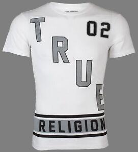 TRUE-RELIGION-Mens-T-Shirt-DEFENSE-White-Black-Silver-Grey-81-Jeans-NWT