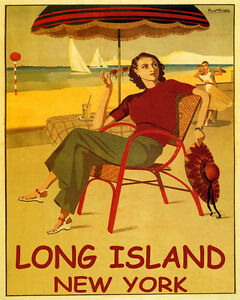 POSTER LONG ISLAND NEW YORK BEACH FASHION SAILING DANCING VINTAGE REPRO FREE S//H