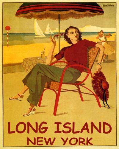 POSTER LONG ISLAND NEW YORK BEACH FASHION SAILING DANCING VINTAGE REPRO FREE S//H