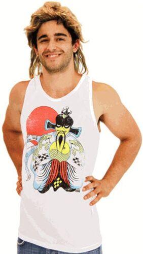 Adult Movie Big Trouble Little China Fu Manchu Jack Buton Tank Top /& Wig Costume