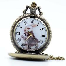 Fashion Mr.White Rabbit Pocket Watch Necklace Chain Women Men Quartz Watch