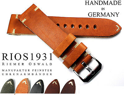 Leather Band 22mm Rios1931 Vintage Retro Look Sturdy Band Strap Germany 22/20 Drip-Dry Wristwatches Watches, Parts & Accessories