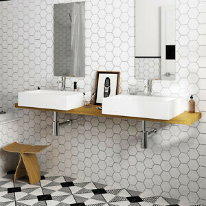12 4x10cm Hexagon White Gloss Ceramic Wall Tiles 1 Sqm 82 Tiles