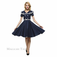 Maggie Tang 50s 60s VTG Pinup Nautical Sailor Rockabilly Swing Party Dress K-580