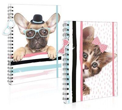A5 Haustier Notizbuch Twin Draht Spiralbindung Papier Hund Katze Design 300 Page