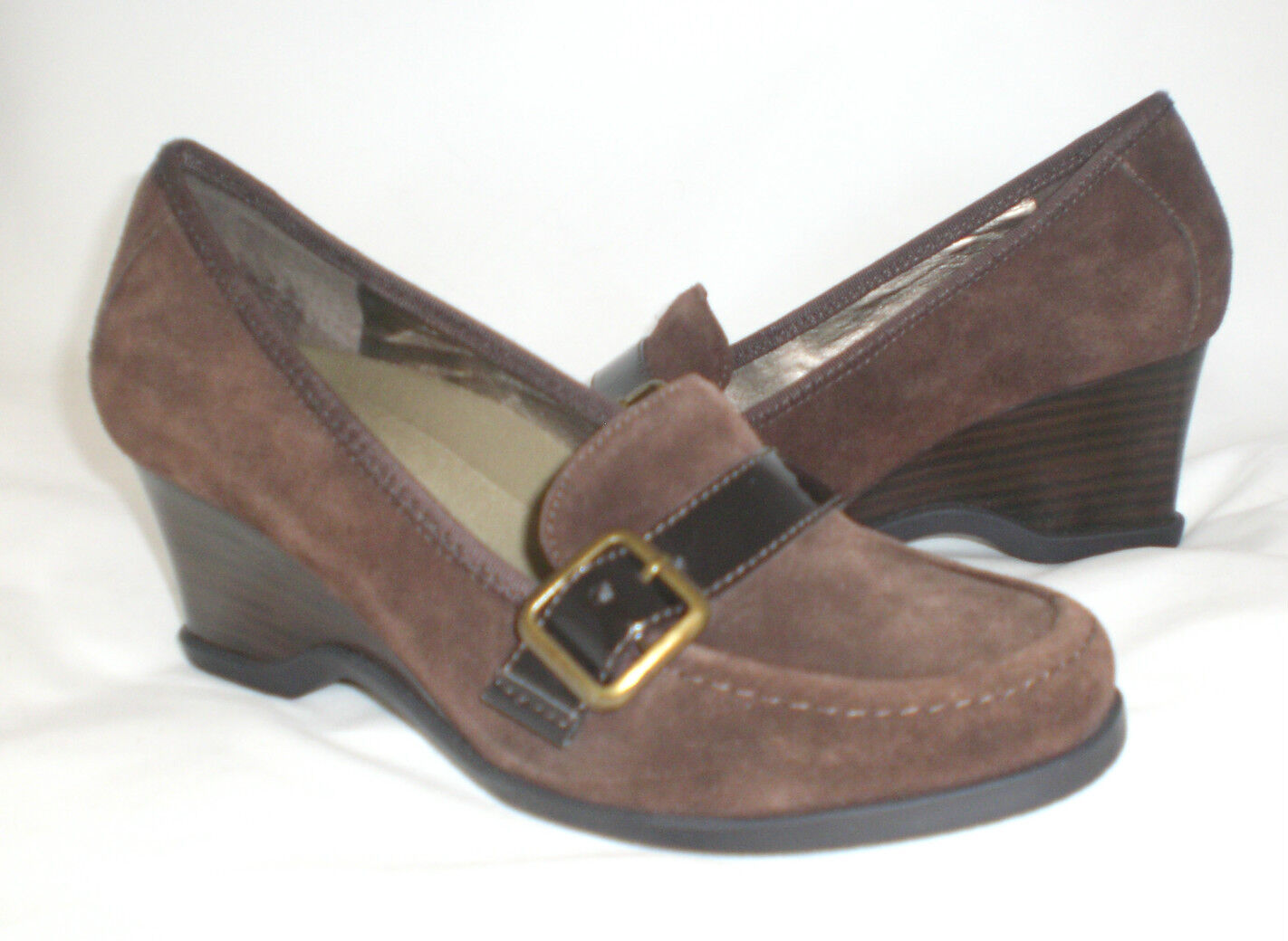 Easy Spirit Deanna wedge loafer brown suede 8 WIDE New
