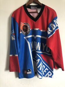 detailed look f965b 31b16 Details about Vintage Nike Mens New York Rangers NHL Hockey Jersey Size M  All Over Print