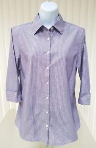 5ed22f35 LANDS END Women's Size 8 Purple/White Striped 3/4 Sleeve Button Down ...