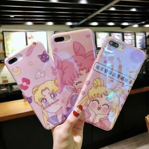 new concept 86e89 27ab5 Details about Tempered Glass Film+Cartoon Sailor Moon Phone Case Cover For  iPhone X 6/7/8/Plus