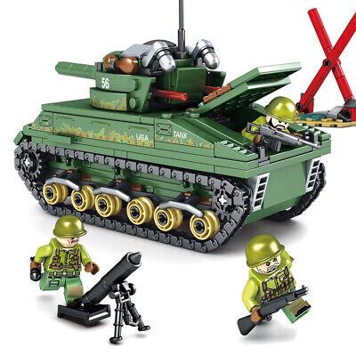 437PCS Lego City Military Sherman M4 Tank Building Blocks WW2 Weapon Toys
