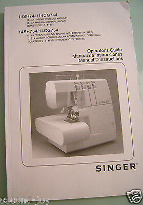 Singer 14SH744//14CG744 Manual Operator/'s Guide English Spanish French Languages