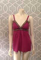 Krafty Boutique Style Top Dark Berry Pink Sleeveless Padded Camisole Top M