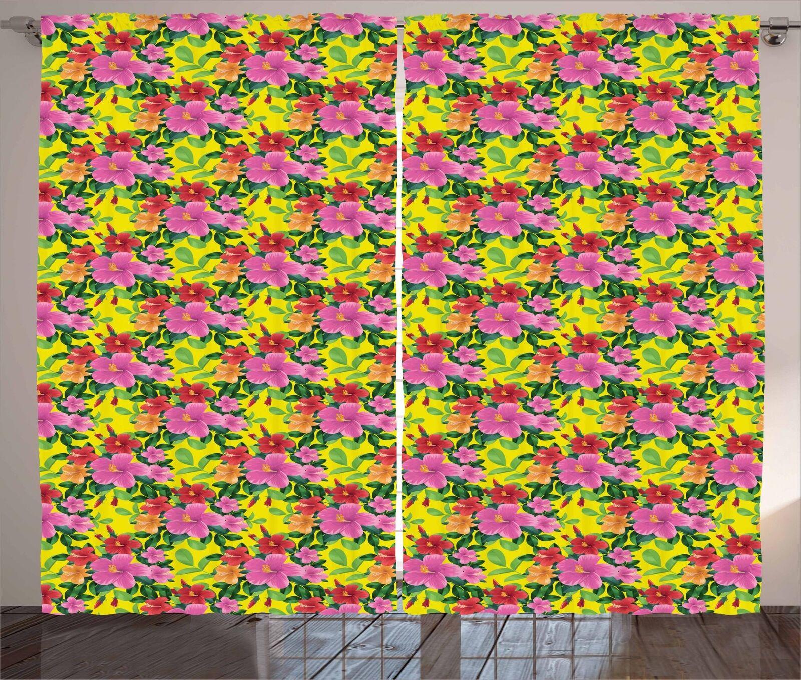 Conjunto de 2 Paneles Cortinas Tropical Hibiscus Decoración 5 tamaños de ventana Cortinas