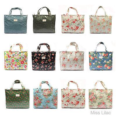 Rose Floral Oil Cloth Tote Box Bag Day Zip Shopper Bag + 17 color pattern