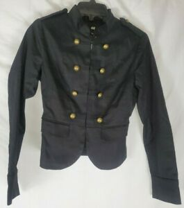 H-amp-M-Women-039-s-Black-Military-Lined-Jacket-Size-2-Long-Sleeve-New-with-Tags
