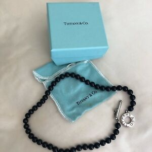 ea0317810 Tiffany & Co Black Onyx 8mm Bead Sterling Silver Toggle Necklace | eBay