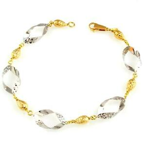 Details About Bracelet Woman In Yellow And White Gold 18 Ct 4 6 Grams