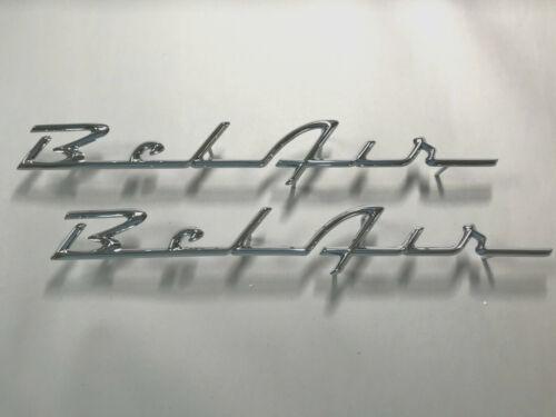 """Chevy /""""BELAIR/"""" Chrome Rear Quarter Script SET~1955-1956"""