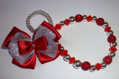 Red Silver Shamballa Bow Crystal Bling Baby Romany dummy pacifier clip chain