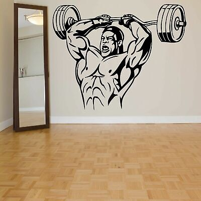 Wall Decal Vinyl Sticker Muscle Bedroom Man Powerlifting Bodybuilding gym bo2891