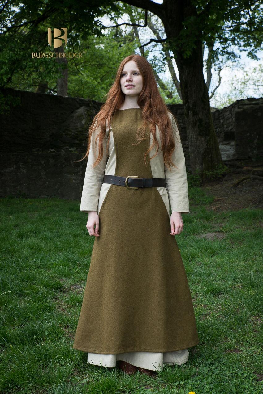 Moyen-âge Surcot Salopette Laine / Larp - Vert D'Automne de de de Burgschneider cf7c09