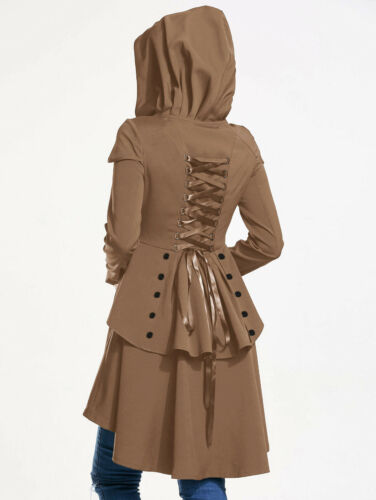 Lady Fashion Lace Up Layered High Low Hooded Coat Long Criss Cross Flare Coat