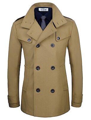 Tom's Ware Mens Stylish Fashion Classic Wool Double Breasted Pea Coat (TWCC06)