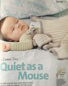 KNITTING-PATTERN-Baby-Striped-Cot-Blanket-amp-Mouse-Toy-Babies-Debbie-Bliss