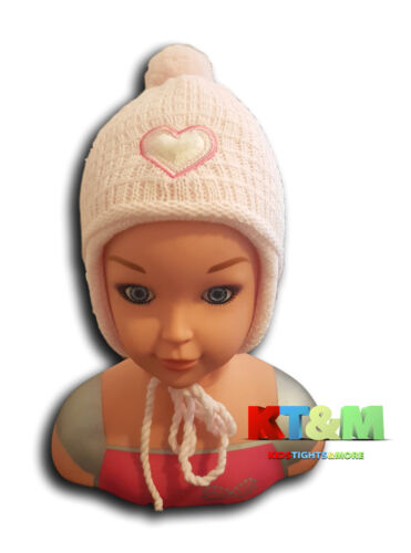 New Baby Girls Beautiful Winter Acrylic Hat Cap with strings 4-6 months