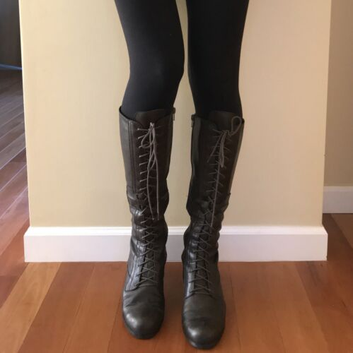 Nine West Brown Leather Lace Up Knee Boots