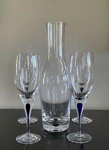 Orrefors Intermezzo Blue Wine Crystal Carafe and 4 Wine Glasses, Sweden