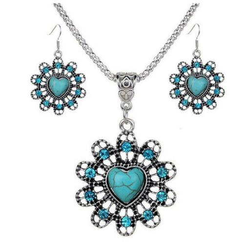 Retro Tibet Silver Blue Turquoise Pendant Necklace Earrings Jewelry Sets H