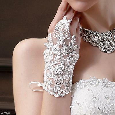 1 Pair Ladies Lace Gloves Party Costume Wedding Bridal Prom Women Bride Mittens