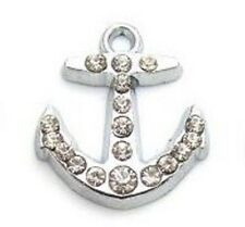 10 Ship Anchor Sailor Crystal Rhinestone Silver Charm/Pandent/Bead/Jewelry K127