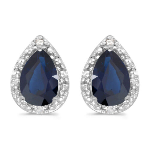 14k White Gold 6x4 mm Pear Sapphire And Diamond Earrings