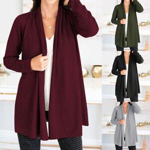 Mode-Femme-Cardigans-Manteau-Manche-Longue-Decontracte-lache-Loisir-Loose-Plus