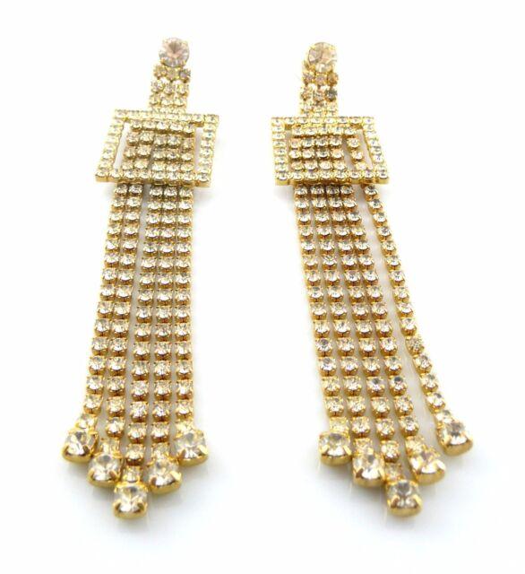 HUGE Vintage 1980s 90s Goldtone & Rhinestones Long Dangling Pierced EARRINGS