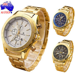 Men-039-s-Luxury-Stainless-Steel-Band-Watch-Casual-Analog-Quartz-Gold-Wrist-Watches
