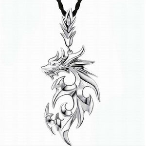 Vintage-Men-039-s-Silver-Stainless-Steel-Dragon-Pendant-Leather-Chain-Necklace-Gift