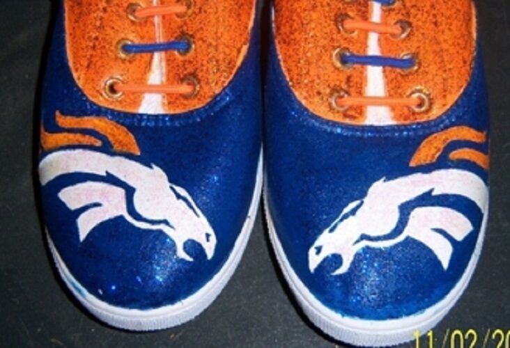 Hand Painted Bling Bling  Denver Broncos NFL shoes Sneakers
