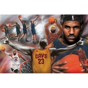 "LeBRON JAMES POSTER ""COLLAGE"" CAVALIERS ""BRAND NEW""  LARGE SIZE 61cm X 91.5cm"