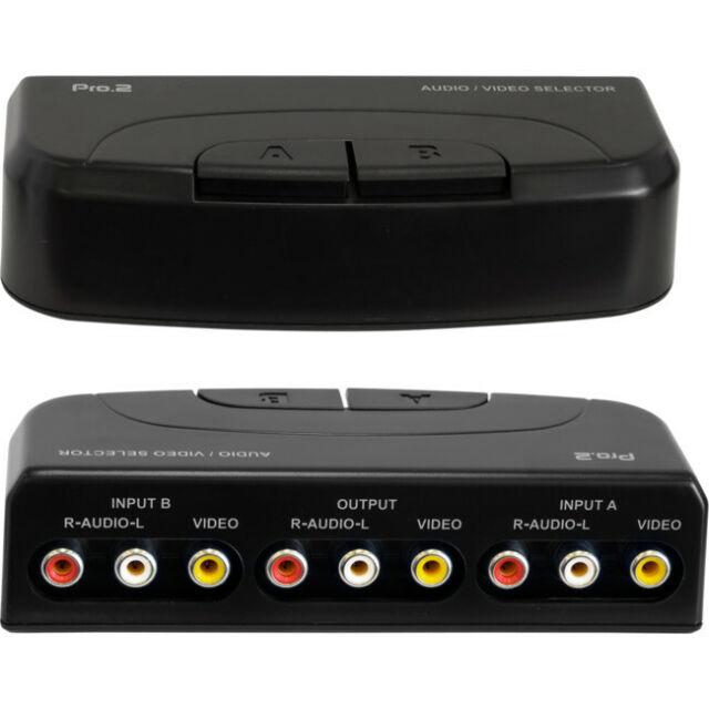 AV212 Pro2 2-Way Composite AV Selector 2 In 1 Out AV Switcher Easy Push-Button